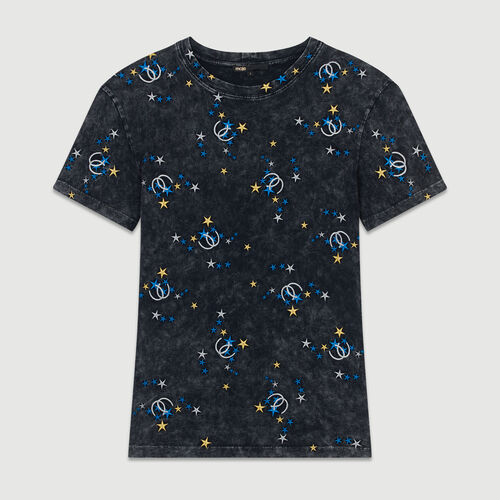 Embroidered T-shirt in distressed cotton : Tops & Shirts color Grey