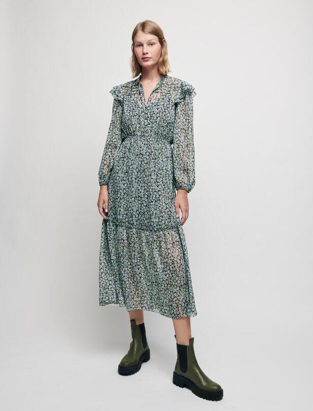 Maje Printed lurex chiffon dress