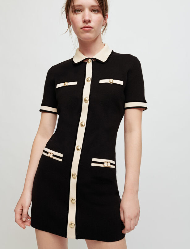 Maje Dress in contrasting knit and horsebit