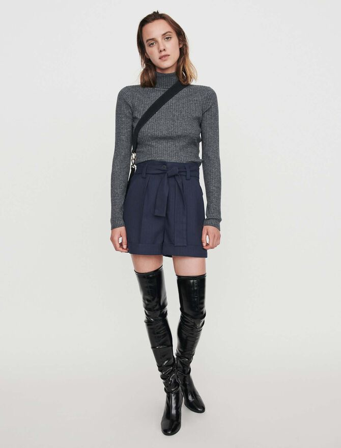Belted shorts with tennis stripes -  - MAJE