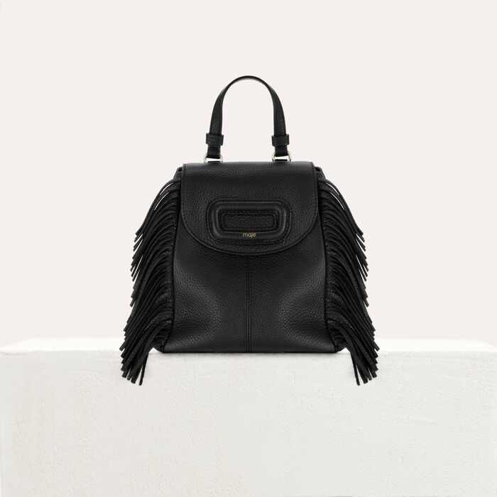 Mini M backpack in leather with chain : The Essentials color Black 210