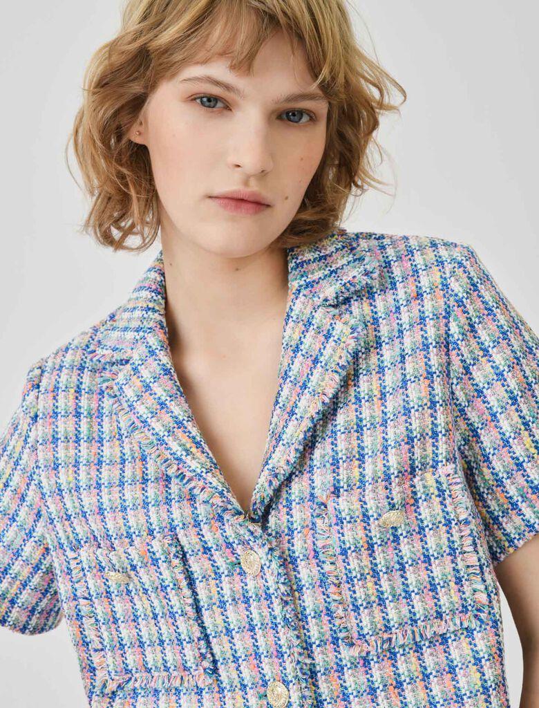 Short-sleeved tweed jacket : Coats & Jackets color Multi-Coloured