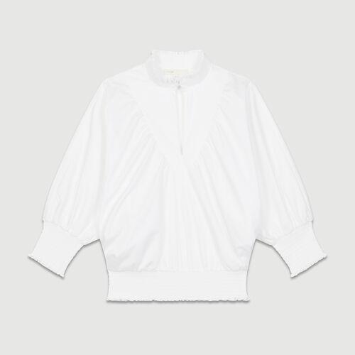 Cotton blouse : Tops & T-Shirts color White