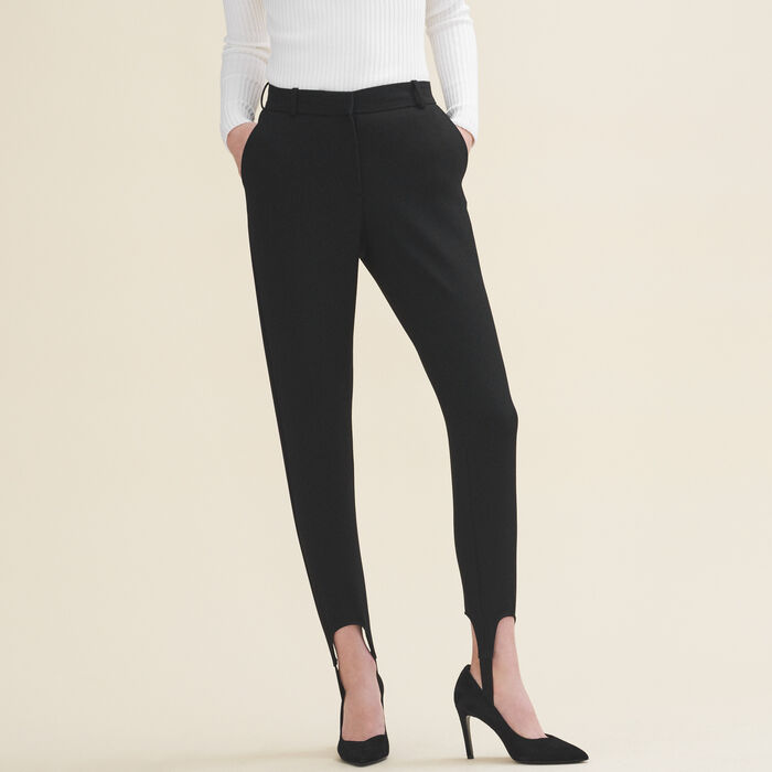 Straight-cut crepe stirrup trousers -  - MAJE