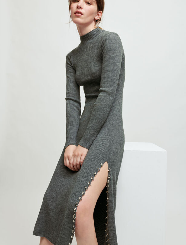 Maje Knitted slit dress with piercings