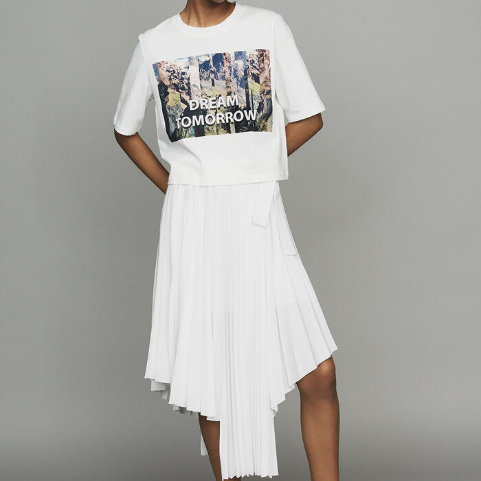 Cropped printed T-shirt : Tops & T-Shirts color White