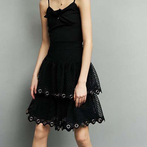 Ruffled guipure lace skirt : Skirts & Shorts color Black 210