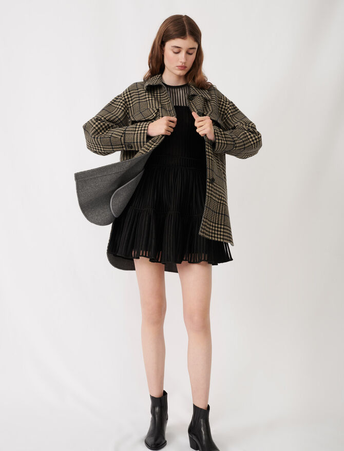 Belted check print coat - The Essentials - MAJE