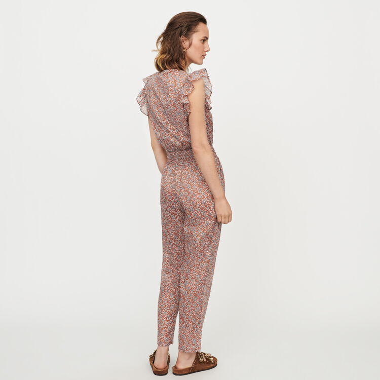 Floral-print cotton voile jumpsuit : Jumpsuits & Rompers color Terracota