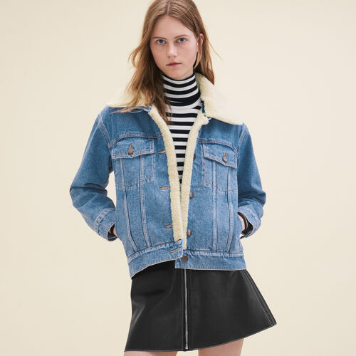 Denim jacket with sheepskin detail - Coats & Jackets - MAJE