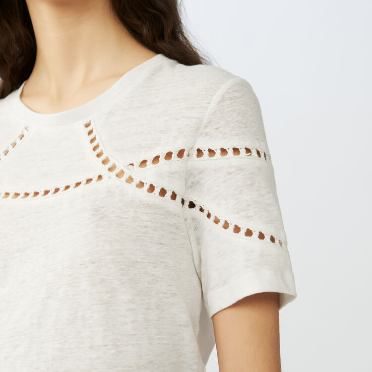 Embroidered linen t-shirt : Tops & T-Shirts color Ecru