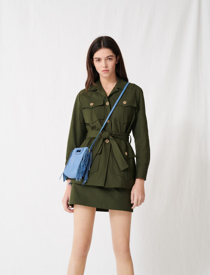 Military-style belted coat - Coats & Jackets - MAJE