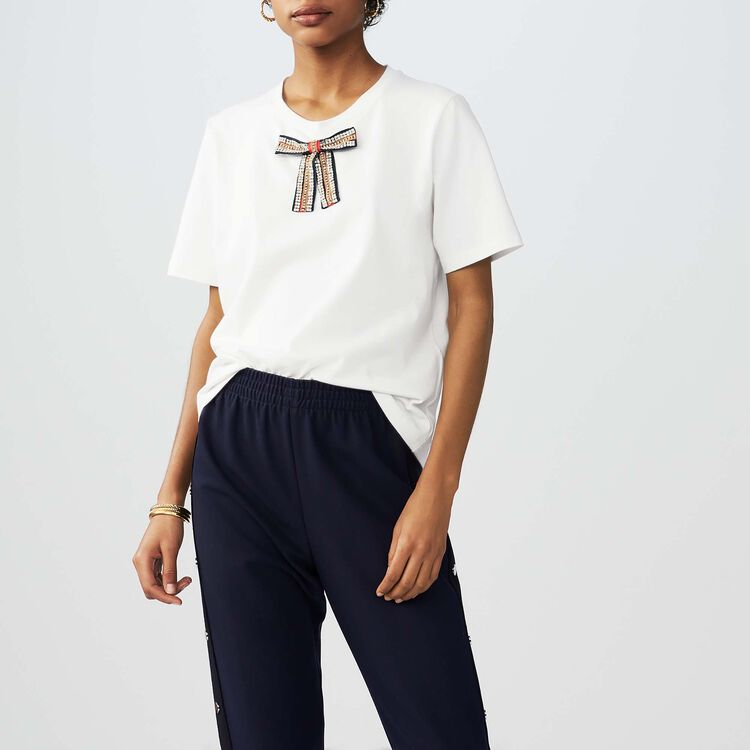 Loose cotton T-shirt with jeweled bow : Tops & T-Shirts color White