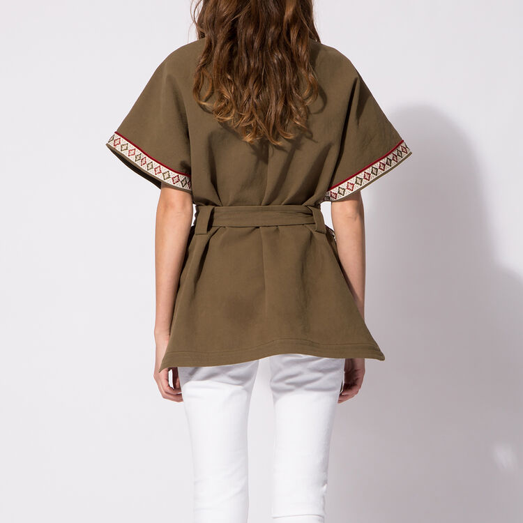 Khaki jacket with embroidered shoulders : Jackets color