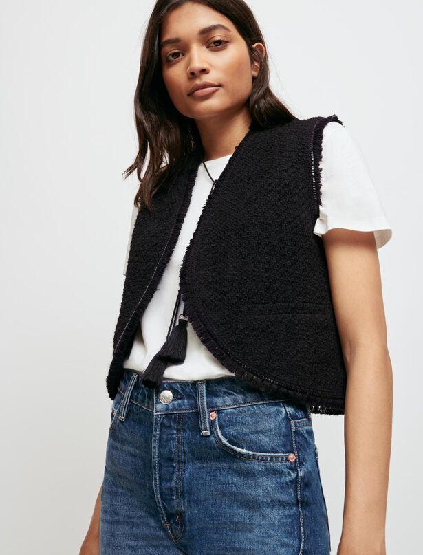 마쥬 민소매 트위드 자켓 MAJE Tweed-style sleeveless jacket,Black