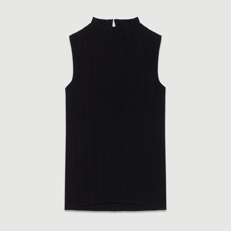 Sleeveless pleated top : New Collection color Black 210