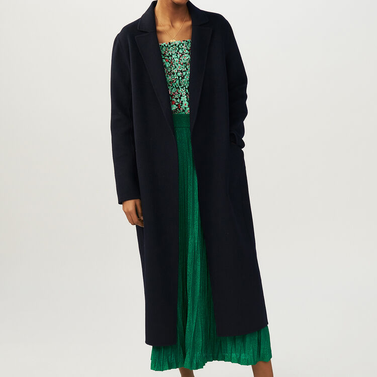 Long double-faced coat : Coats & Jackets color Navy