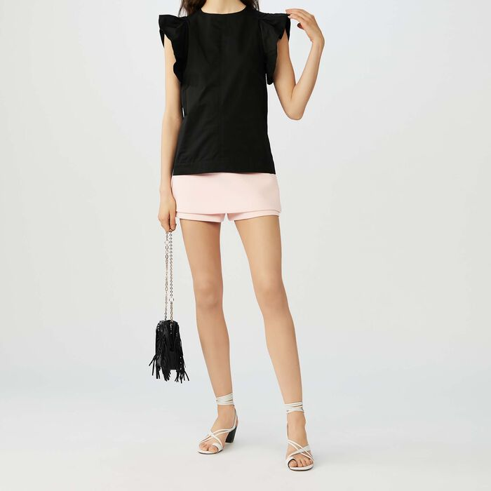 Ruffled cotton canvas top : Tops & T-Shirts color Black 210