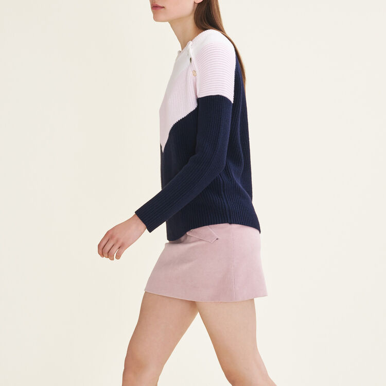 Tricolour jumper with press studs : null color