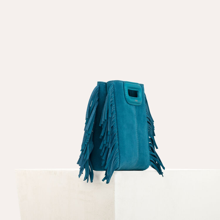 Mini M bag in suede with chain : Spring Collection color Green