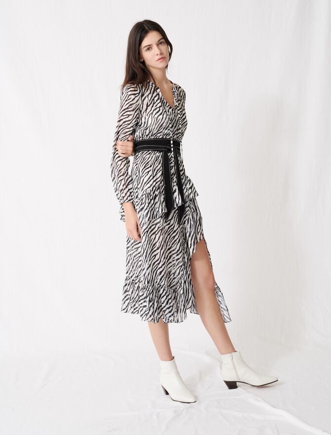 Printed black and white asymmetric dress - Dresses - MAJE
