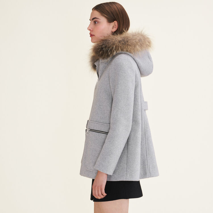 Coat with decorative zips : Coats & Jackets color Grey