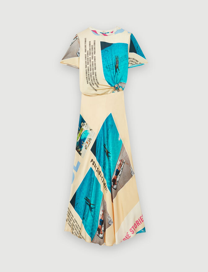 Printed satin tied scarf dress : Dresses color Blue/Yellow