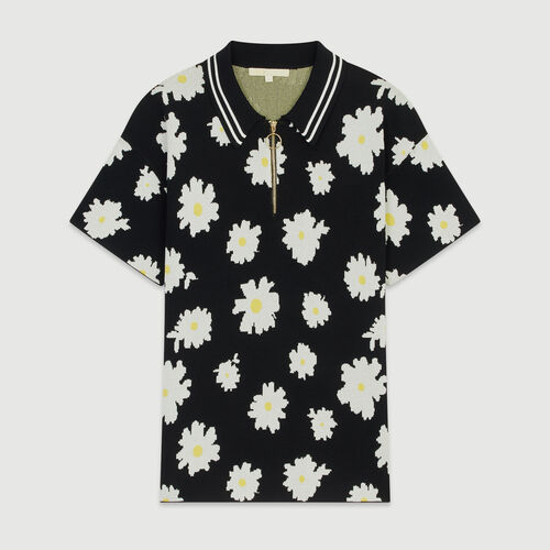 Polo in marguerite jacquard : Tops & T-Shirts color Jacquard