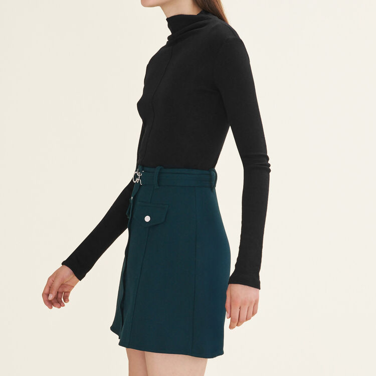 Trapeze skirt with belt : Skirts & Shorts color Green