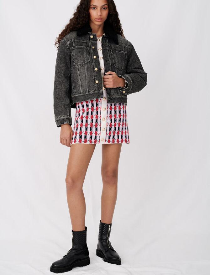 Denim and fur-effect jacket - Coats & Jackets - MAJE