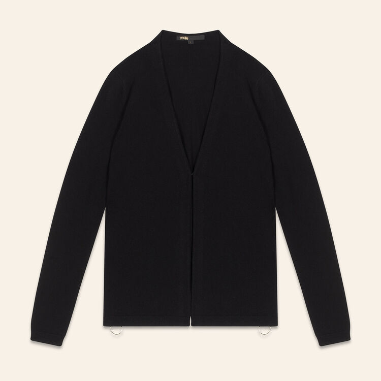 Cardigan with zips on the sides : Sweaters color Black 210