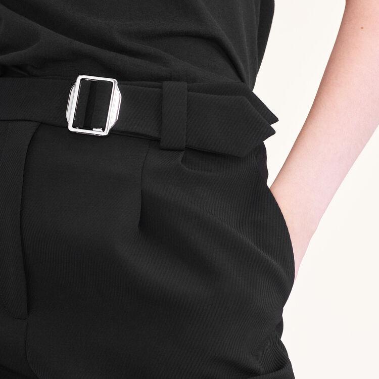 Wide leg trousers with belt : Pants & Jeans color Black 210