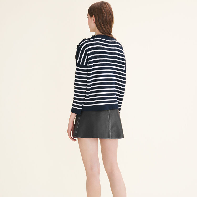 Breton jumper with velvet buttons : Sweaters color Navy