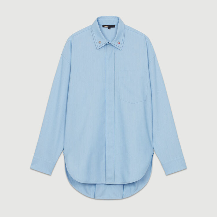 Oversize blouse with double-collar shirt : Tops & T-Shirts color Blue Sky