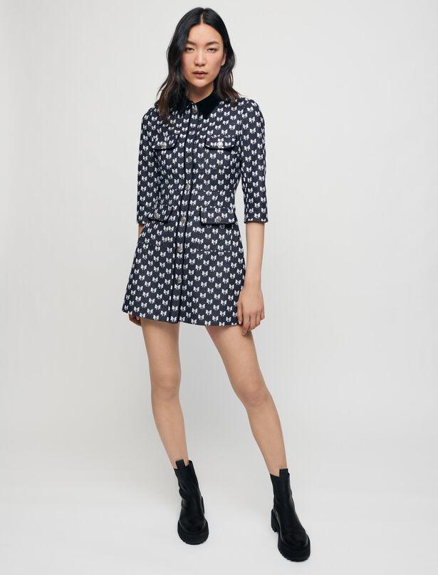 Maje Jacquard dress with bow pattern
