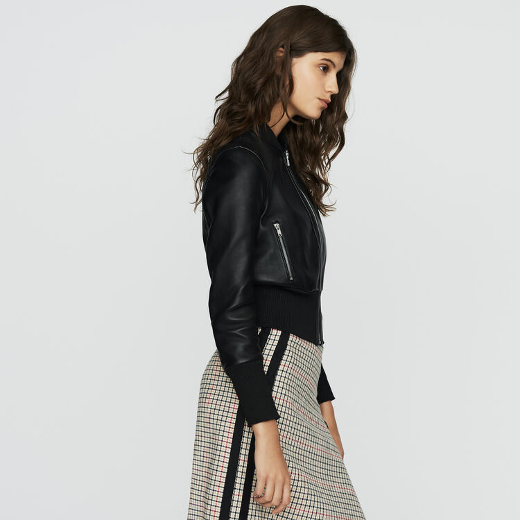 Leather bomber : The Spring Essentials color Black 210