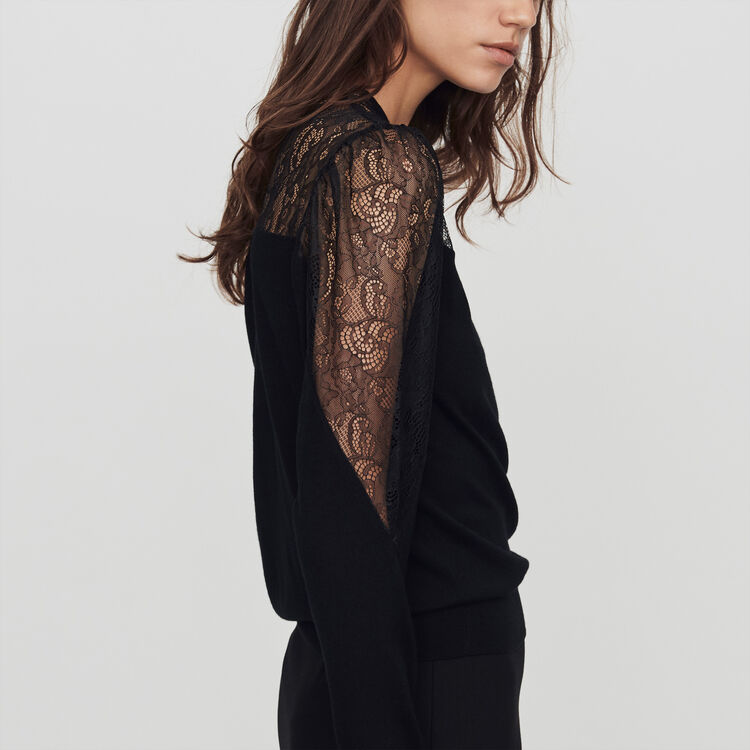 Light knit and lace sweater : Sweaters color Black