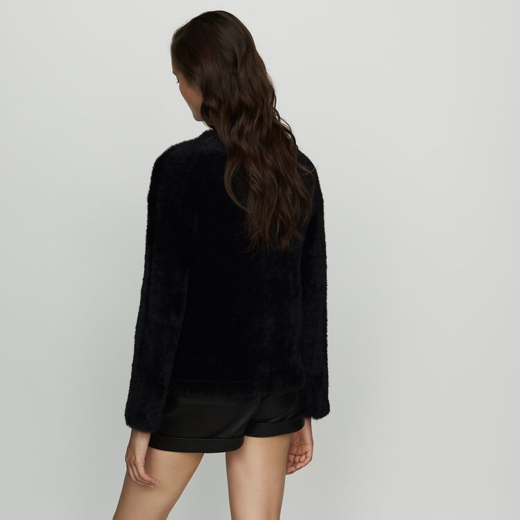 Faux fur cardigan : Sweaters color Black 210