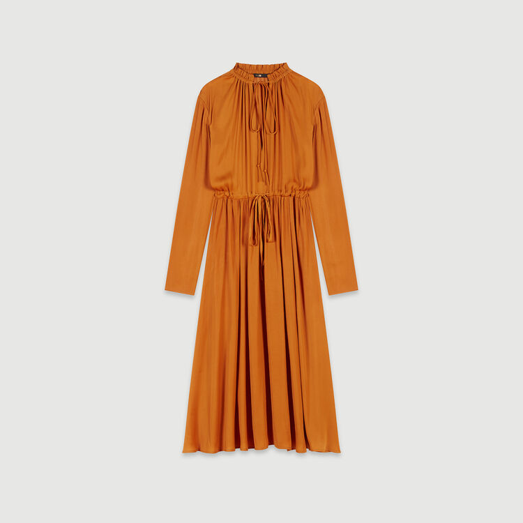 Satin drawstring dress : Dresses color Caramel