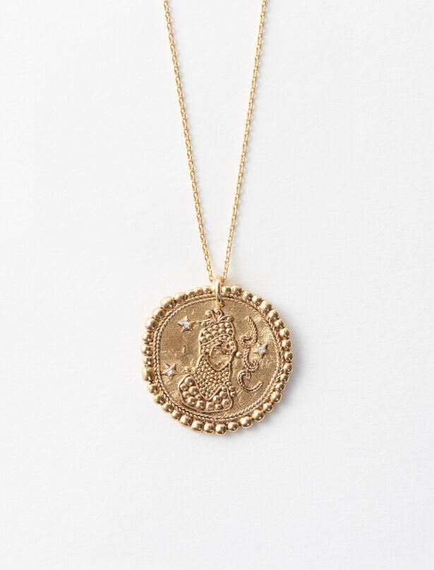 마쥬 MAJE Virgo zodiac sign necklace,Old Brass