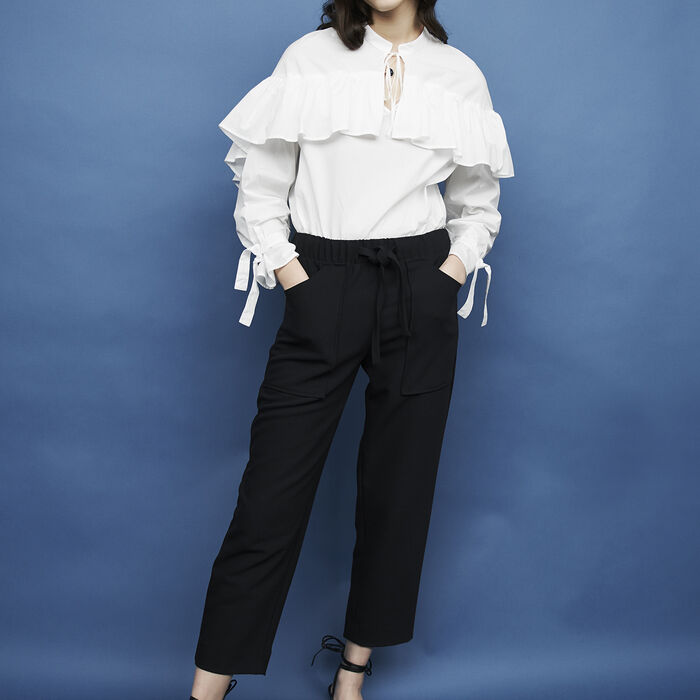 Crepe wide leg pants : Pants & Jeans color Navy