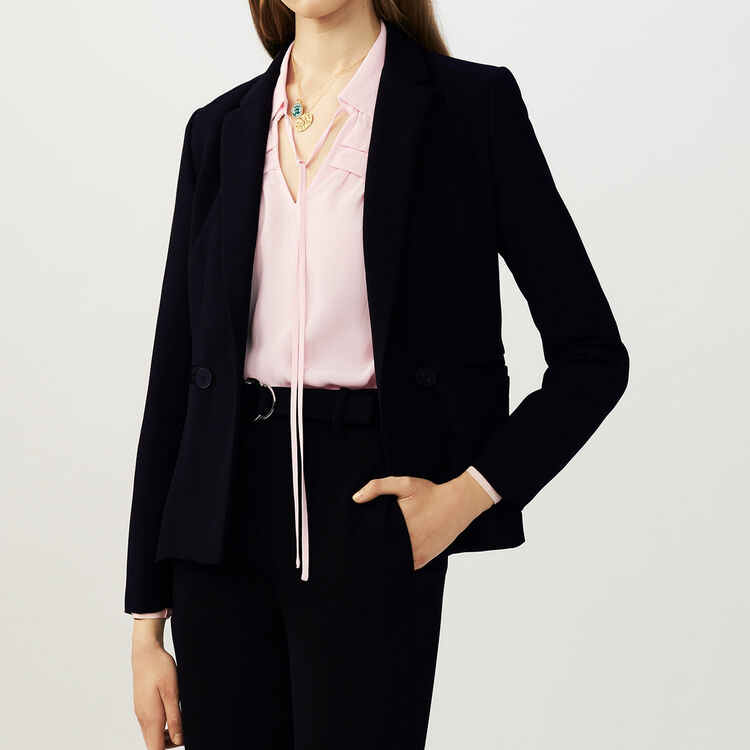 Suit-style cropped vest : Coats & Jackets color Black 210
