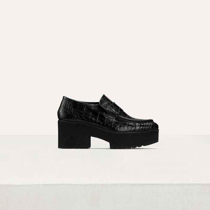 Crocodile-style leather : Shoes color Black 210
