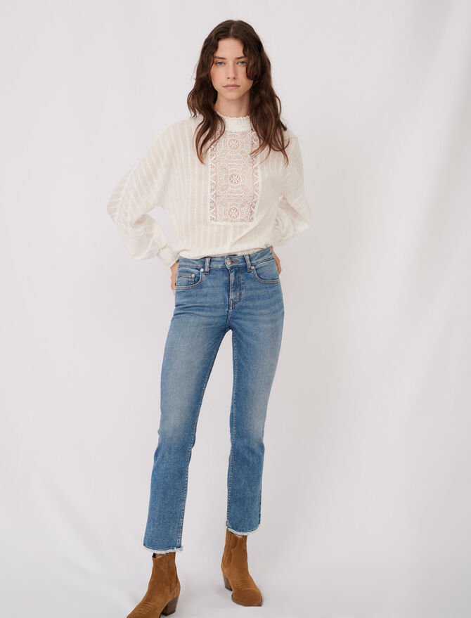 Straight cut jeans with fringing - Pants & Jeans - MAJE