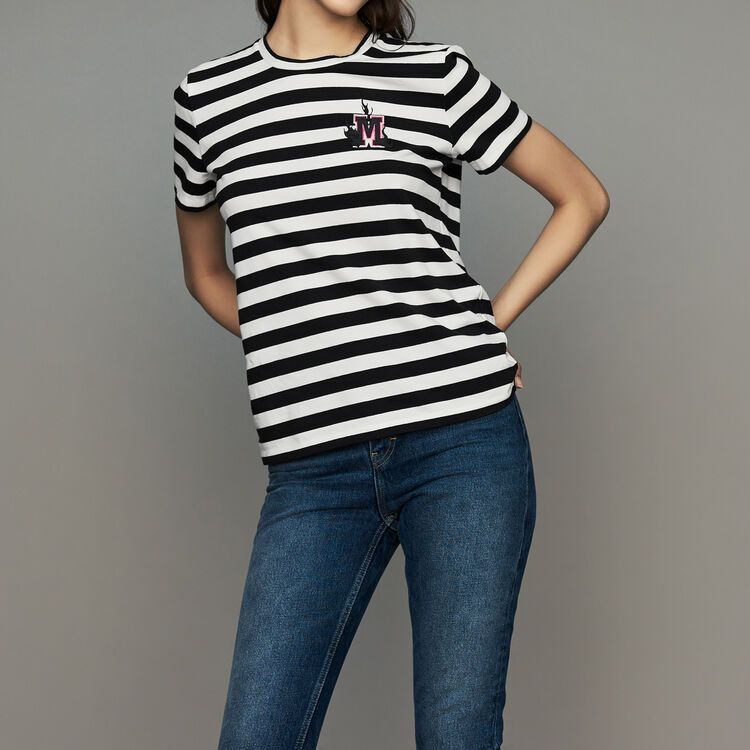 Striped cotton T-shirt with crest : Tops & T-Shirts color Stripe