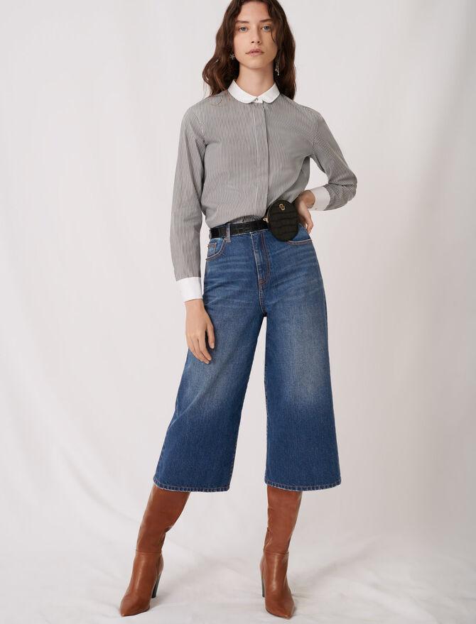 Striped poplin shirt with plain details - Tops & T-Shirts - MAJE