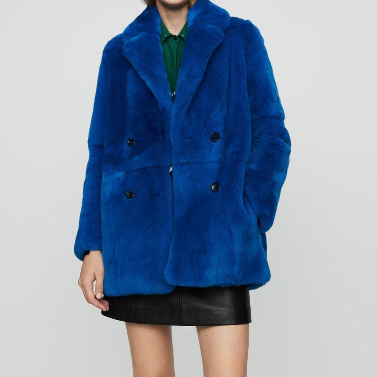 Cropped fur coat : Coats & Jackets color Blue