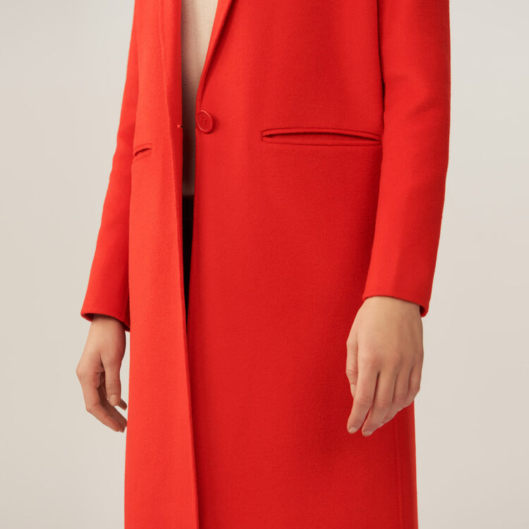 Long double-faced coat : Coats & Jackets color Orange