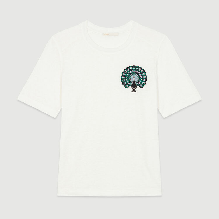 Tina Linen T Shirt With Embroidery Tops Shirts Maje