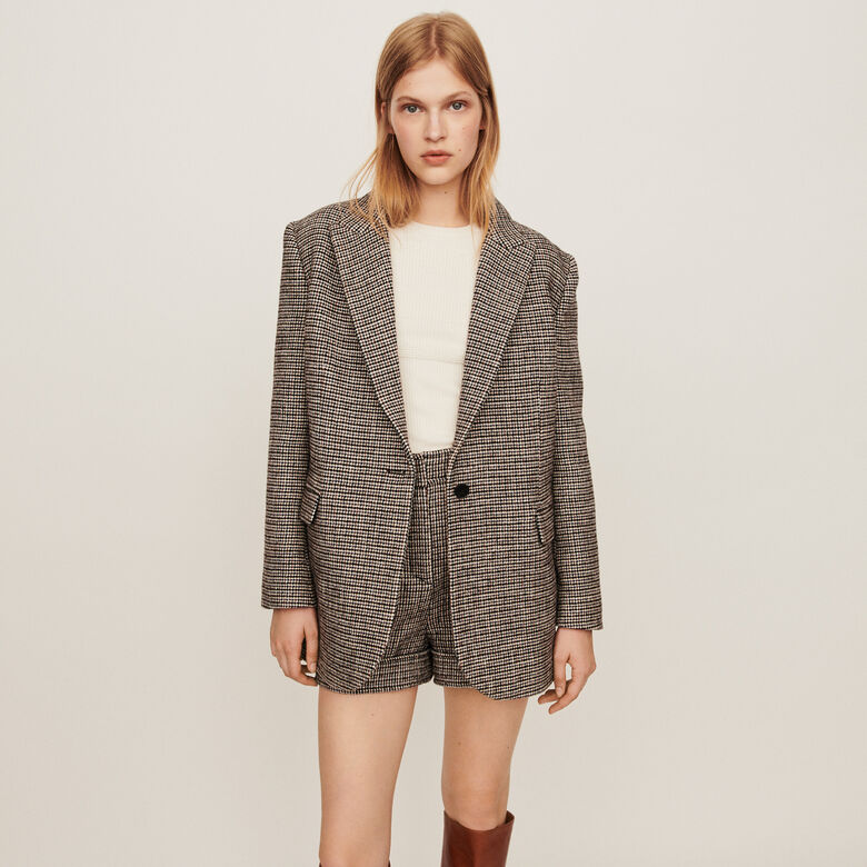 Checkered jacket-style blazer : Coats & Jackets color Grey